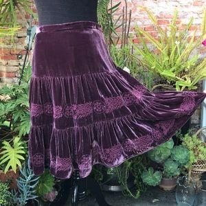 BCBG MaxAzria boho embroidered velvet skirt